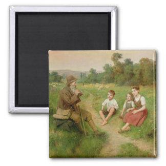Children Listen to a Shepherd Playing a Flute Fridge Magnet