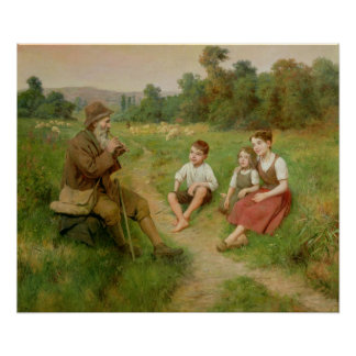 Children Listen to a Shepherd Playing a Flute Poster