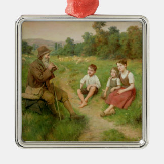 Children Listen to a Shepherd Playing a Flute Silver-Colored Square Decoration