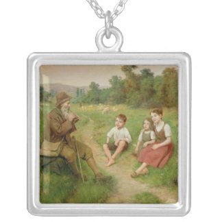 Children Listen to a Shepherd Playing a Flute Silver Plated Necklace