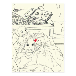 Children Love My Mummy Funny Line Drawing Design Postcard