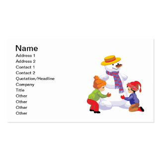 Children Making A Snowman Business Card Templates