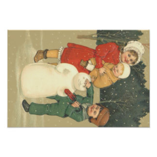 Children Making Snowman Winter Snow Photo Print
