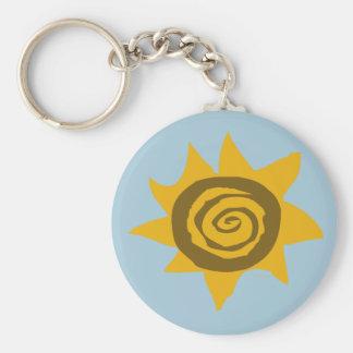 Children Of The Sun sunset sunlight sunflower rays Basic Round Button Key Ring