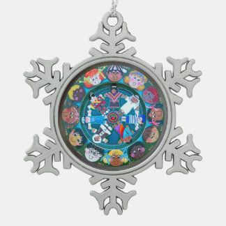 Children of the World Snowflake Pewter Christmas Ornament