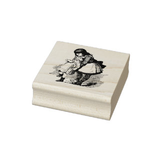 Children Old Fashioned Sisters Loving Family Rubber Stamp