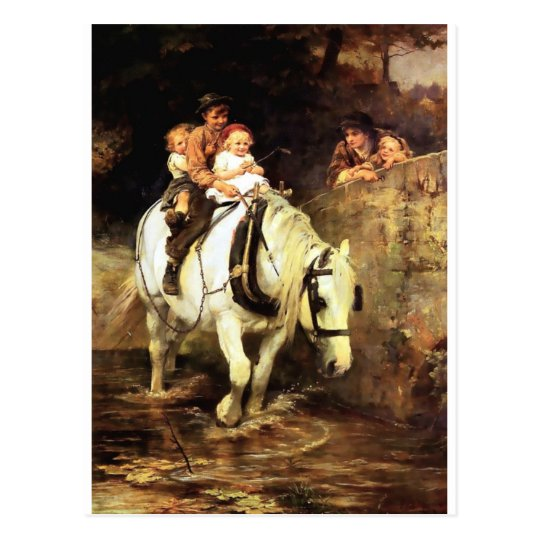 Children on a Horse painting Postcard