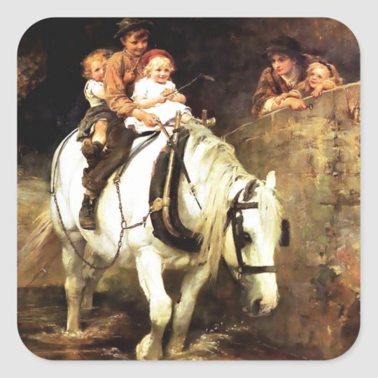 Children on a Horse painting Square Sticker