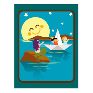 Children on a paper boat waving to a mermaid. postcard