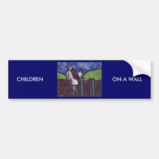 CHILDREN ON A WALL CAR BUMPER STICKER