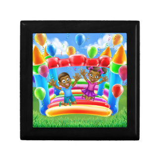 Children on Bouncy Castle Small Square Gift Box