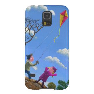 Children on hill flying kite galaxy s5 case