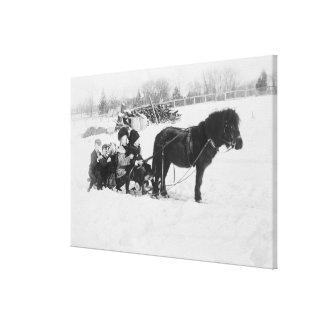 Children on Pony Drawn Sled Photograph Canvas Print