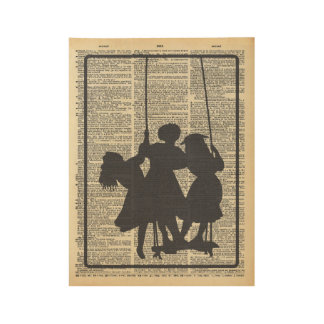 Children on Swing Silhouette on Dictionary Page Wood Poster