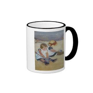 Children on The Beach, Mary Cassatt Ringer Coffee Mug