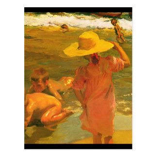 Children on the Sea-shore - Joaquín Sorolla Postcard