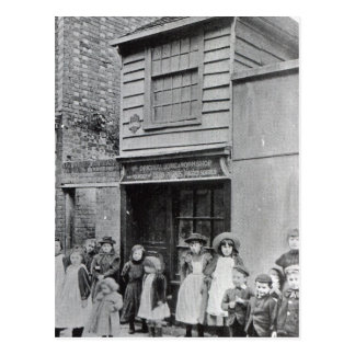 Children outside John Pounds's workshop Postcard