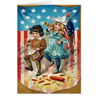 Children Parade American Flag Vintage 4th of July Greeting Card