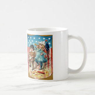 Children Parade American Flag Vintage 4th of July Classic White Coffee Mug