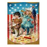 Children Parade American Flag Vintage 4th of July Postcards