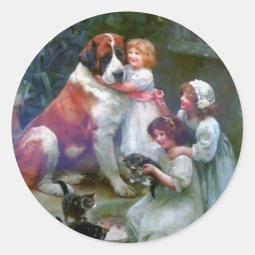 Children Pets Dog Cats Painting Round Sticker
