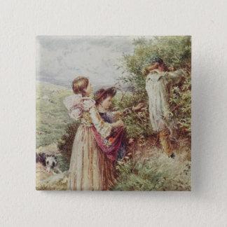 Children picking blackberries, 19th century 15 cm square badge
