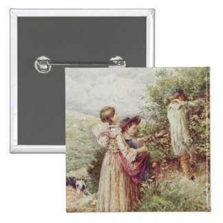 Children picking blackberries, 19th century 15 cm square badge