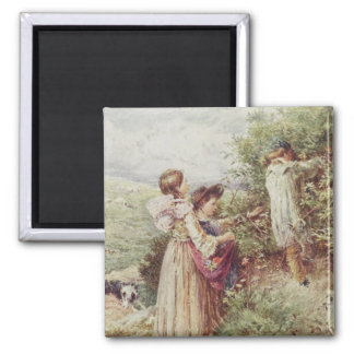 Children picking blackberries, 19th century magnet
