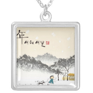 Children Playing 3 Silver Plated Necklace