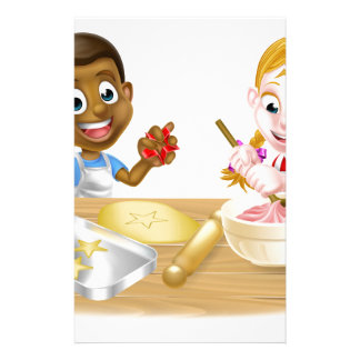 Children Playing at Baking Personalized Stationery