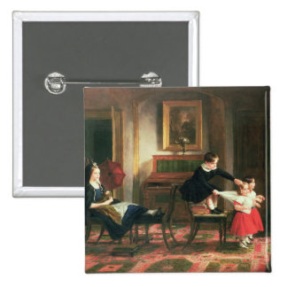 Children playing at coach and horses 15 cm square badge