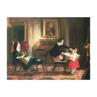 Children playing at coach and horses canvas print