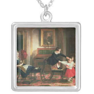 Children playing at coach and horses silver plated necklace
