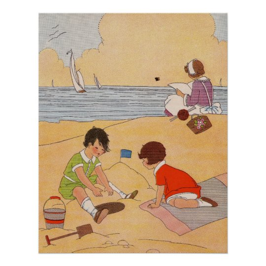 Children Playing At The Beach Poster