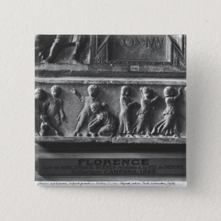Children Playing Ball Games, fragment 15 Cm Square Badge