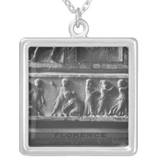 Children Playing Ball Games, fragment Silver Plated Necklace