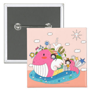 Children playing by fish in pond 15 cm square badge