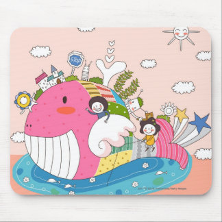 Children playing by fish in pond mouse mat