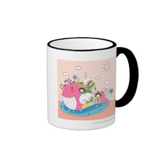 Children playing by fish in pond coffee mugs