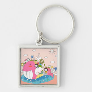 Children playing by fish in pond Silver-Colored square key ring