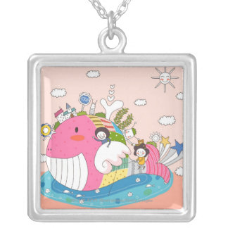 Children playing by fish in pond silver plated necklace