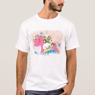 Children playing by fish in pond T-Shirt
