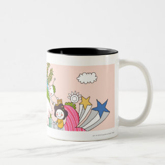 Children playing by fish in pond Two-Tone coffee mug