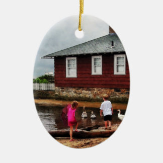 Children Playing by Harbor Essex CT Christmas Ornament