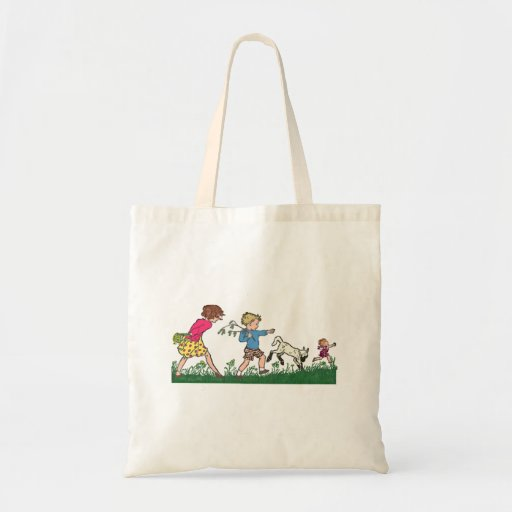 Children Playing in a Field Canvas Bags