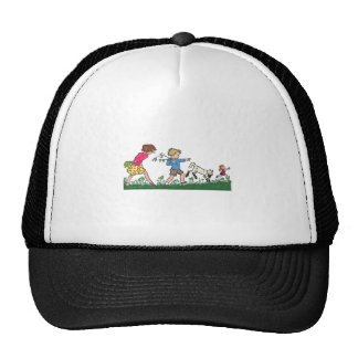 Children Playing in a Field Hat