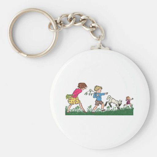 Children Playing in a Field Keychain