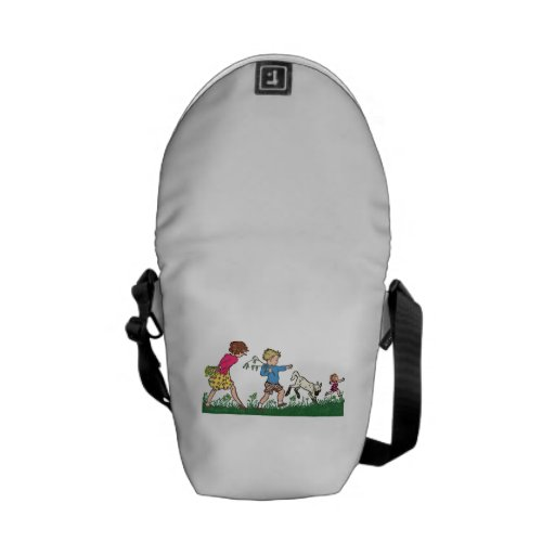 Children Playing in a Field Messenger Bags