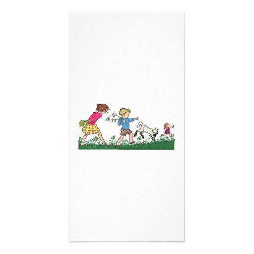 Children Playing in a Field Personalized Photo Card