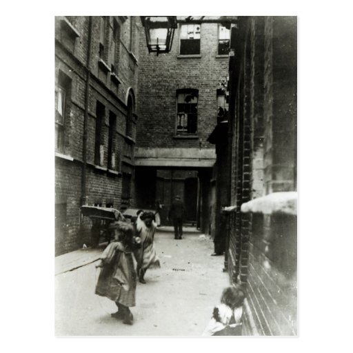 Children playing in a slum, 1899 post cards